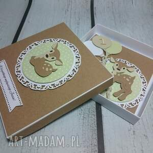 sarenka scrapbooking kartki brązowe zestaw bambi z balonami