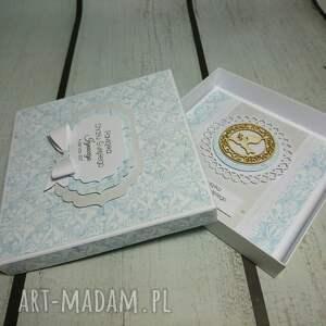 białe scrapbooking kartki chrzest zestaw błękitna elegancja