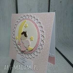 ręcznie zrobione scrapbooking kartki chrzest zestaw cudny aniołek na księżycu