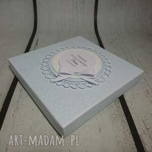 niebieskie scrapbooking kartki chrzest zestaw cudny aniołek na księżycu