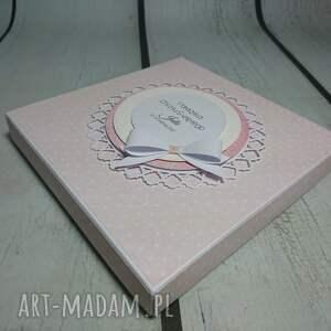 różowe scrapbooking kartki chrzest zestaw cudny aniołek na księżycu