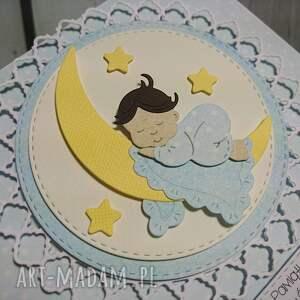 scrapbooking kartki narodziny zestaw cudny aniołek na księżycu