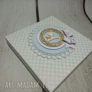 niebieskie scrapbooking kartki chrzest zestaw elegancki z dużym wyborem