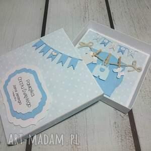turkusowe scrapbooking kartki pudełko zestaw maluszkowe ubranka (w