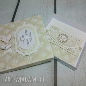 białe scrapbooking kartki komunia zestaw minimalizm w koronkach i