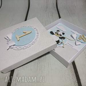 niebieskie scrapbooking kartki panda zestaw w kwiatuszku