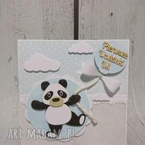 pamiatka scrapbooking kartki szare zestaw panda w kwiatuszku