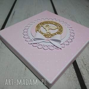 różowe scrapbooking kartki komunia zestaw pudrowy róż