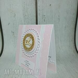 ręcznie zrobione scrapbooking kartki komunia zestaw pudrowy róż
