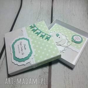 białe scrapbooking kartki pamiątka zestaw słonik z balonikiem