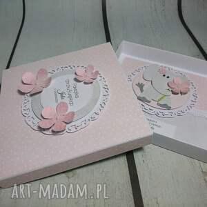 chrzest scrapbooking kartki różowe zestaw słonik w kwiatach