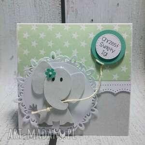 pudełko scrapbooking kartki zielone zestaw słonik z balonikiem