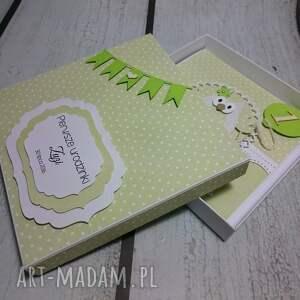 białe scrapbooking kartki pamiątka zestaw - słonikowe urodziny w