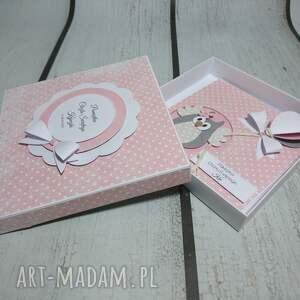 pamiątka scrapbooking kartki różowe zestaw sówka z balonem