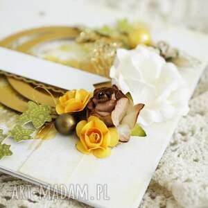 hand made złote gody - kartka w pudełku (na
