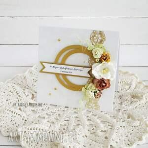 złote scrapbooking kartki rocznica ślubu gody - kartka