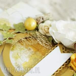 złote scrapbooking kartki rocznica ślubu gody - kartka w pudełku (na