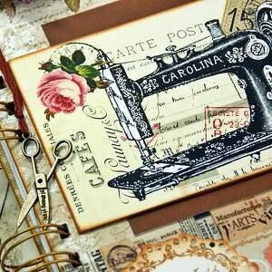 ręczne wykonanie scrapbooking notesy pracownia notatnik krawiecki - retro
