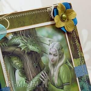 zielone scrapbooking notesy notes notatnik/pamiętnik - smoki