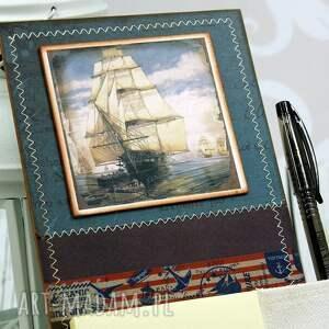 hand-made scrapbooking notesy notes na lodówkę -morskie wyprawy