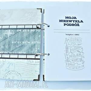 szare scrapbooking notesy podróżnik pamiętnik podróży, prezent