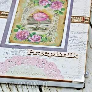 eleganckie scrapbooking notesy książka przepiśnik- różana kawiarenka
