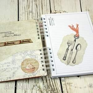 białe scrapbooking notesy kucharska przepiśnik- różana kawiarenka
