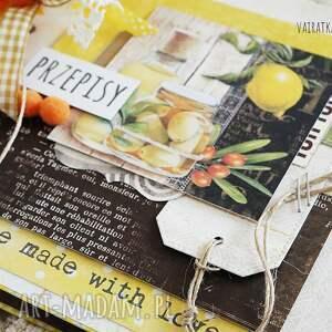 brązowe scrapbooking notesy kulinarny przepiśnik z cytryną, kwadratowy