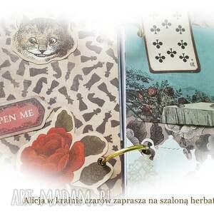 scrapbooking notesy: sekretnik/pamiętnik Alicja w krainie czarów - karty
