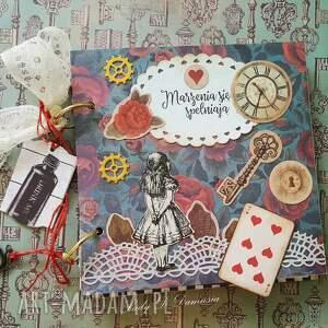 turkusowe scrapbooking notesy kluczyk sekretnik/pamiętnik alicja