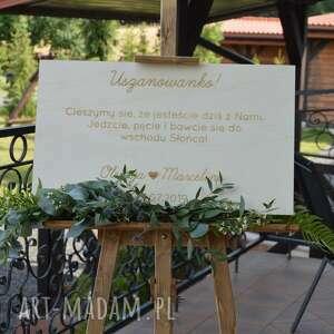 ślub sztaluga drewniana, grawerowana tablica