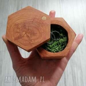 heksagon ślub drewniane pudełko na obrączki