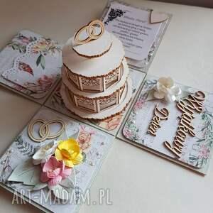 różowe ślub exploding box ślubny z tortem
