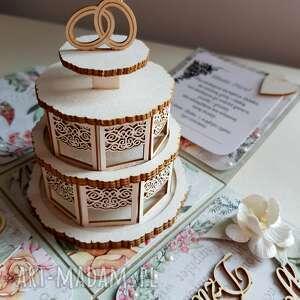 ślub tort exploding box ślubny z tortem