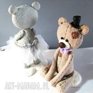 ślub modelina figurka na tort miś panna młoda