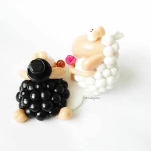 hand-made ślub figurka na tort ślubny dwie owce