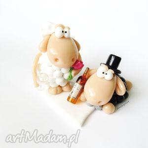 czarne ślub modelina figurka na tort ślubny dwie owce