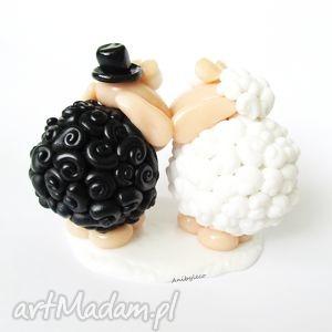 modelina ślub białe figurka na tort ślubny - czarna