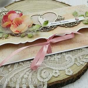 ślub: komplet ślubny - opakowanie na wino i kartka kopertówka - prezent młodej parze