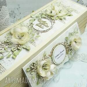 wyraziste ślub prezent ślubny komplet - opakowanie drewniane na wino