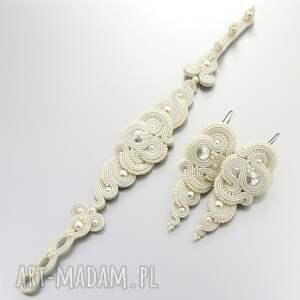 białe ślub sutasz komplet ślubny soutache rosaline