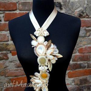 ślub białe kremowo-złoty ślubny naszyjnik