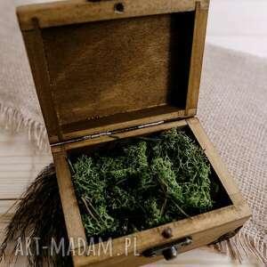 eleganckie ślub pudełko na obrączki wykonane z naturalnego