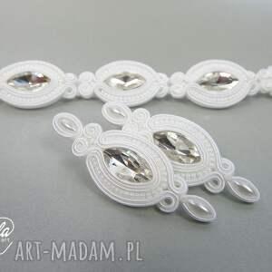 mela art MEL -kpl ślubny sutasz kolczyki i bransoletka biel