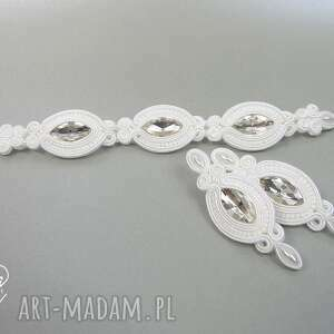 MEL -kpl ślubny sutasz kolczyki i bransoletka biel soutache