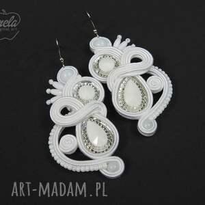 mela art ~mela~ kolczyki ślubne sutasz RION 7 cm białe