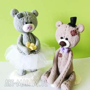 modne ślub modelina figurka na tort miś panna młoda