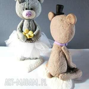 modelina ślub figurka na tort miś panna młoda