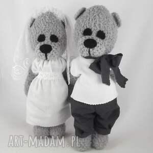 ślub: misiowa para młoda, personalizacja - pamiątka ślubu prezent-ślubny