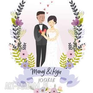 portret ślub kolorowe obraz pary młodej